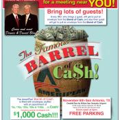 AmeriPlan Famous Barrel Of Cash Coming To San Antonio Texas November 6th