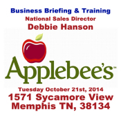 Business Briefing & Training At The Applebee's This Tuesday, October 21st 2014 With NSD Debbie Hanson
