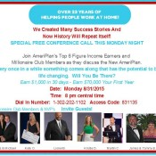 ATTENTION!! Special Conference Call TONIGHT… The New AmeriPlan!